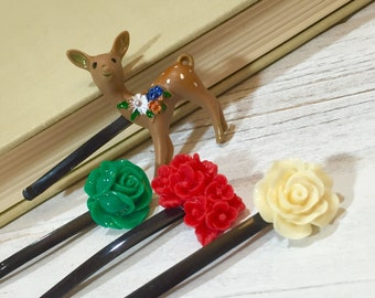 Floral Hair Pins, Woodland Hair Accessories, Christmas Bobby Pins, Holiday Bobby Pins, Flower Bobby Pin Set, Reindeer Bobby Pin