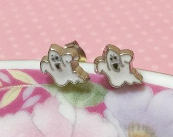 Scary Ghost Studs, Tiny Enameled Metal Halloween Stud Earrings, White Ghost Earrings, Creepy Halloween Earrings, Little Ghost Earrings