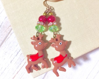 Reindeer Earrings, Christmas Dangle Earrings, Kawaii Earrings, Quirky Christmas Jewelry, Fun Holiday Earrings, Red and Green Deer Earrings