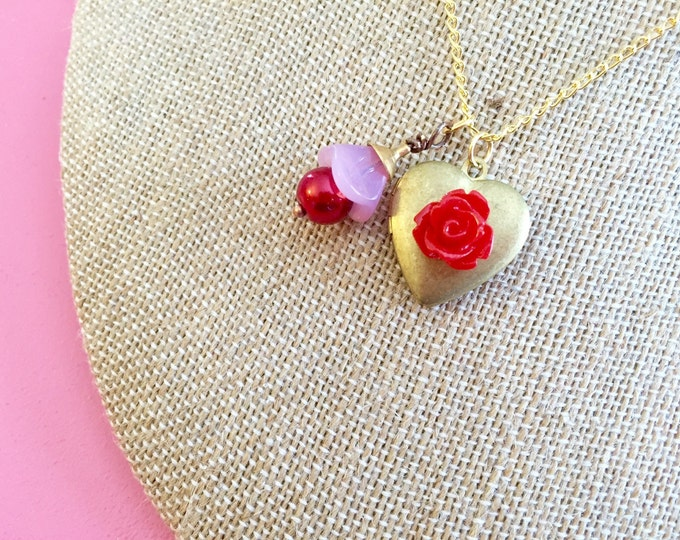 Featured listing image: Heart Locket Necklace, Flower Charm Necklace, Red Flower Necklace, Brass Heart Necklace, Valentines Day Necklace, Handmade KreatedByKelly