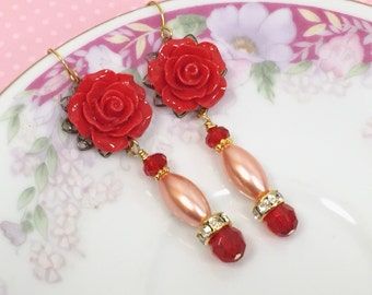Red Flower Earrings, Wedding Flower Earrings, Statement Earrings, Pearl Earrings, Estate Assemblage Jewelry Handmade by KreatedByKelly (DE3)