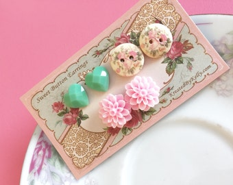 Earrings Gift Set, Pastel Flower Earrings, Green Heart Earrings, Pink Flower Earrings, Floral Wood Button Earrings, KreatedByKelly (ES1)
