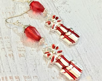 Christmas Earrings, Wrapped Gifts with Red Bow Beaded Dangle Earrings for Xmas Holiday, Stocking Stuffer, Handmade KreatedByKelly (DE2)