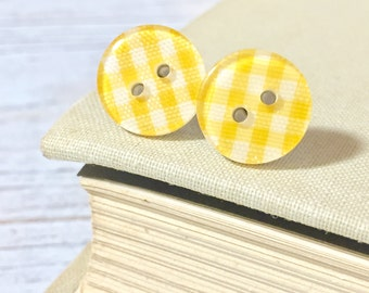 Lemon Yellow Gingham Plaid Sewing Button Stud Earrings with Surgical Steel Posts