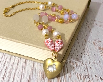 Glowing Glass Easter Bunny Rabbit on Vintage Heart Locket Layering Necklace with Handmade Pink, Gold and White Beaded Chain