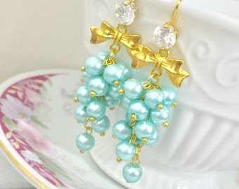 Pearl Cluster Earrings, Aqua Pearl Earrings, Lolita Earrings, Rhinestone Earrings, Gold Bow Earrings, Fancy Earrings, KreatedbyKelly (HJ4)