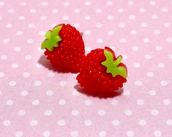 Red Strawberry Studs, Little Fruit Studs, Kawaii Stud Earrings, Surgical Steel, Red Fruit Studs, Bumpy Strawberry Stud, KreatedbyKelly (SE5)