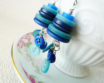 Blue Earrings made with Shades of Blue Buttons, Vintage Button Earrings in Blue, A Sea of Blue Dangle Earrings