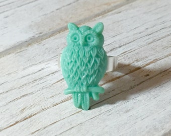 Green Owl Ring, Aqua Owl Ring, Adjustable Owl Ring, Nature Lover Ring, Woodland Ring, Statement Ring, Bird Ring, KreatedbyKelly (DE1)