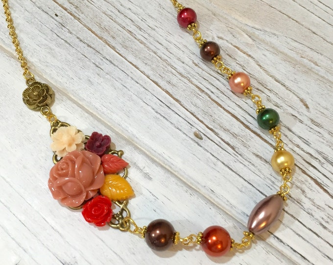 Featured listing image: Asymmetrical Necklace, Fall Flower Necklace, Pearl Necklace, Flower Statement Necklace, Autumn Jewelry, Orange Brown Yellow, KreatedByKelly