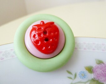 Kitschy Cute Fruit Fun Red Strawberry on Pink and Mint Green Shortcake Recycled Vintage Buttons Pendant Brooch Pin