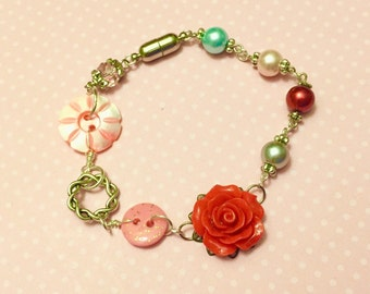 Handmade Red Flower Bracelet with Vintage Buttons, Glass Pearls and Magnetic Clasp