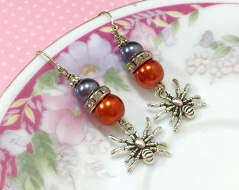 Spider Earrings, Halloween Earrings, Gothic Earrings, Creepy Crawly Spider Earrings, Tibetan Silver Earring, Orange Gray Pearl Earring (DE2)