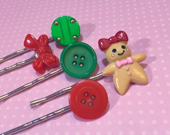 Christmas Hair Clip Set, Gingerbread Girl Bobby Pin, Holiday Hair Pins, Vintage Button Bobby Pins in Green Red, Bow Hair Pin