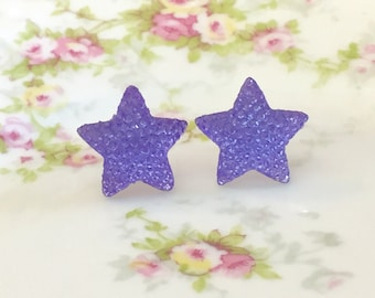 Large Purple Star Stud Earrings in Bumpy Shimmering Celestial Sparkling Glittery Faux Druzy, Surgical Steel