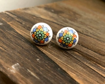Colorful Hippie Flower Earrings, Vintage Glass Cabochon Earrings, Red Blue Yellow White Abstract Flower (SE17)