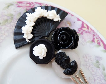 Floral Hair Accessories, Women Flower Bobby Pin Set, Floral Fan Flowers Vintage Cabochon, Black White