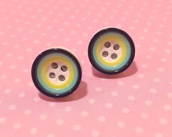 Super Cute Button Stud Earrings, Mod Circles Stud Earrings, Sewing Button Earrings in Lime Green Yellow Black, KreatedByKelly
