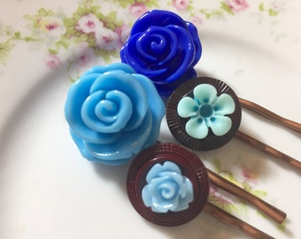 Flower Hair Pins, Blue Flowers Bobby Pins Set, Upcycled Button Bobby Pins, Blue Rose Hair Pin, Blue Daisy Hair Pin, Kreatedbykelly