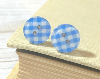 Light Blue Plaid Earrings, Blue Post Earrings, Button Stud Earrings, Surgical Steel, Light Blue Gingham Sewing Button Post Earrings (LB1)