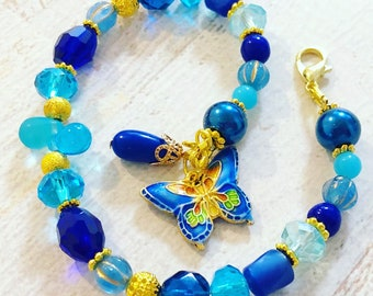 Whimsical Blue Glass Beaded Bracelet with Cloisonne Butterfly Charm