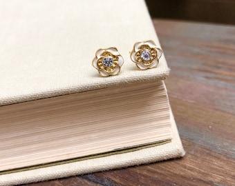 Tiny Flower Studs, Rhinestone Flower Studs, Bridal Flower Earrings, Bridesmaid Gift Earrings, Ivory Gold Flower Studs (TS9)