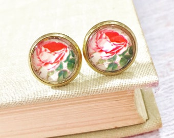 Pink Cabbage Rose Picture Glass Stud Earrings in Gold Toned Surgical Steel Setting