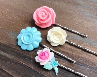 Floral Hair Accessories, Pastel Bobby Pin Set, Flower Bobby Pins, Pink Rose Flower Pin, Off White Rose Pin, Blue Swirl Flower Hair Pin