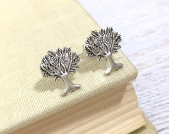 Tree of Life Earrings, Silver Tree Earrings, Silver Metal Earrings, Metal Post Earrings, Hippie Boho Earrings