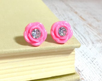 Shiny Pink Rhinestone Center Carved Rose Flower Button Studs, Wedding Earrings, Surgical Steel