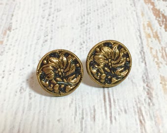 Glass Stud Earrings, Gold Daisy Studs, Vintage Czech Glass Button Studs in Black Gold, Glass Flower Stud Earrings, KreatedByKelly (GC)