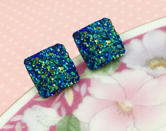 Blue Druzy Studs, Druzy Stud Earrings, Glittery Blue Square Studs, Blue Resin Druzy Studs, Blue Glitter Square Studs (SE4)