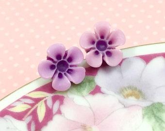 Purple Daisy Stud, Purple Flower Earrings, Purple Daisy Earrings, Surgical Steel, Sensitive Ear Stud, Flower Girl Earrings