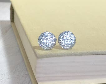 Little Sparkling Clear White Druzy Round Circle Stud Earrings with Surgical Steel Posts (SE13)