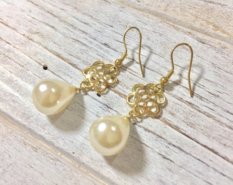 Pearl Drop Earrings, Gold Flower Earrings, Stainless Steel Earrings, Pearl Earrings, Classic Earrings, Flower Jewelry, KreatedbyKelly (HJ3)