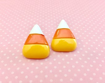 Huge Candy Corn Stud Earrings for Halloween with Surgical Steel Posts