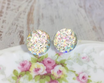 Clear Iridescent Flower Bouquet Stud Earrings with Surgical Steel Posts