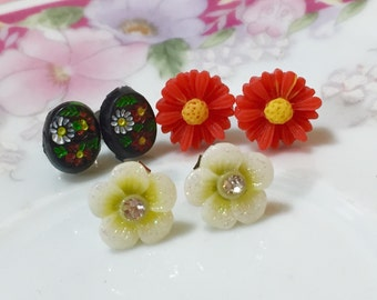 Earrings Set, Floral Cameo Studs, Red Daisy Studs, Yellow Rhinestone Daisy Studs, Stainless Steel Studs Gift Set, Stocking Stuffer (ES1)