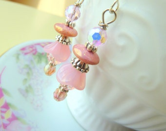 Pink Flower Earrings, Czech Glass Earrings, Surgical Steel Earrings, Woodland Earrings, Pink Glass Earrings