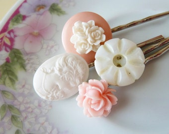 Cameo Bobbie Pins, Floral Hair Accessories Flower Cabochon Bobby Pin Set, Vintage Buttons Peach Pearl
