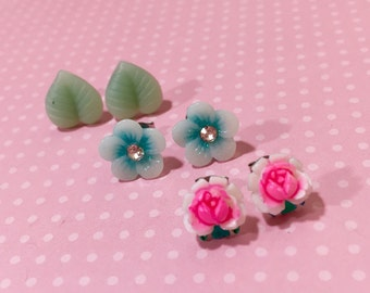 Nature Earring Gift Set, Vintage Pink Rose Studs, Aqua Daisy Studs, Mint Green Leaf Studs, Stocking Stuffer, Rhinestone Flower Studs (ES1)
