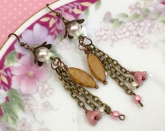 Beaded Tassel Earrings, Assemblage Jewelry, Pearl Flower Earring, Quirky Long Dangle Earrings, Woodland Earrings, Tassel, KreatedByKelly
