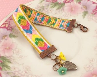 Pastel Chevron Bracelet, Bohemian Ribbon Bracelet, Flower Leaf Cluster Bracelet, Yellow Pink Blue Green, Flower Cluster Bracelet