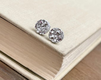 Sparkly Little Faux Druzy Stud Earrings in Silver with Stainless Steel Posts