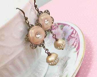 Assemblage Earrings, Rhinestone Flower Earrings, Freshwater Pearl Earrings, Statement Earrings, OOAK Earrings, Handmade By KreatedByKelly