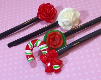 Christmas Hair Accessories, Bobby Pins in Red Green and White, Candy Cane, Red Rose, White Rose, Holiday Hair Pins, KreatedbyKelly