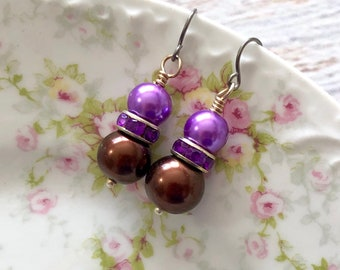 Glass Pearl and Rhinestone Short Dangle Earrings in Purple and Brown with Surgical Steel Ear Wires
