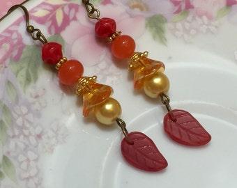 Red Leaf Earrings, Woodland Earrings, Orange Flower Earrings, Autumn Earrings, Fall Harvest Jewelry, Whimsical Earrings, KreatedByKelly