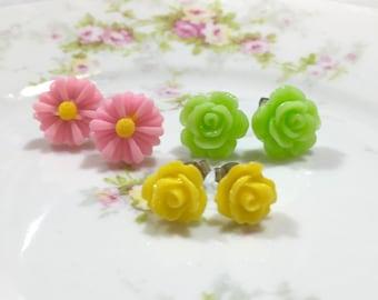 Stud Earring Set, Pink Flower Stud Earrings Set, Green Rose Studs, Yellow Rose Studs, Pink Daisy Studs, Floral Studs, KreatedByKelly (ES1)