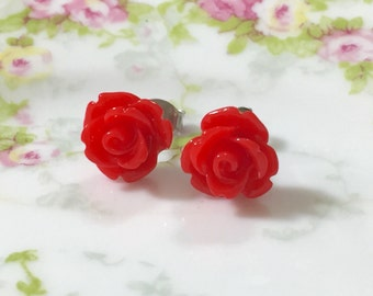 Red Rose Studs, Small Red Flower Studs, Red Icing Rose Studs, Red Flower Earrings, Bright Red Rose Studs, Surgical Steel Studs (SE10)